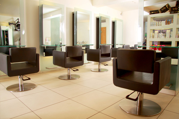 Inside options shop, hairdressing chairs and mirrors